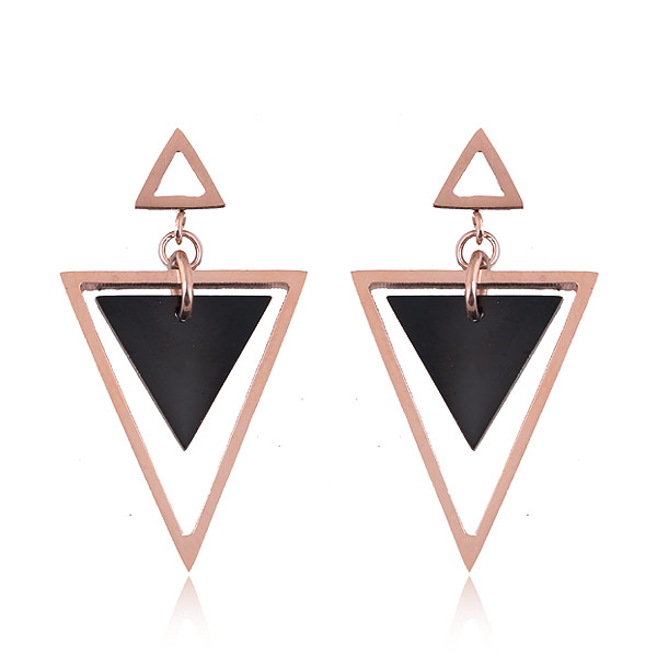 hight quality titanium steel eardrop geometric sharp rose gold charm stud earrings