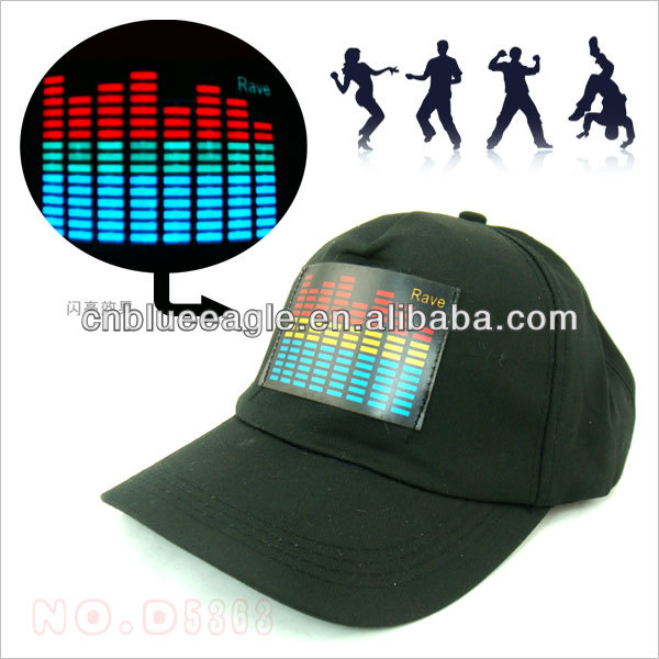 EL sound activated panel for cap, equalizer caps, light up cap baseball caps with led lights