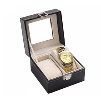 New design free sample elegant black display window luxury watch box, 2 slots PU leather highend watch packaging boxes
