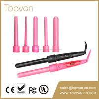 interchangeable hair straightener rotating curling iron