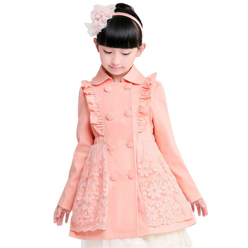 2015 New Trench Coats Girls Winter Coat Double Breasted Ruffles Kids Girls Clothes Lace Flower Lolita Skirt Manteau Fille Enfant
