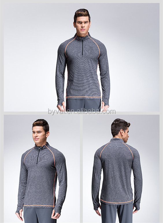 Online Shopping Dry-Fit Breathable Men's Sports Fitness Cationic Half Zip Running Tops 100% Polyester Cationic T-Shirts for Men