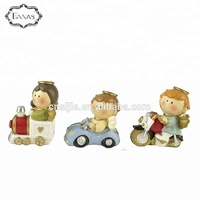 3pcs Polyresin boy & girl angels figurines on car,train & motorcycle