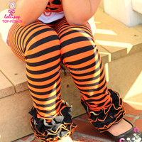 Wholesale Children Orange And Black Striped Icing Legging Baby Girl Boutique Icing Ruffle Halloween Icing Pants