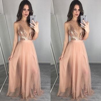 italienisch spanisch europa pailletten tiefer vausschnitt Ärmellose tüll rosa stil abendkleid