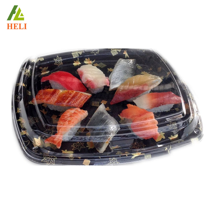 Vacuum form black color blister plastic sushi packaging box on sale