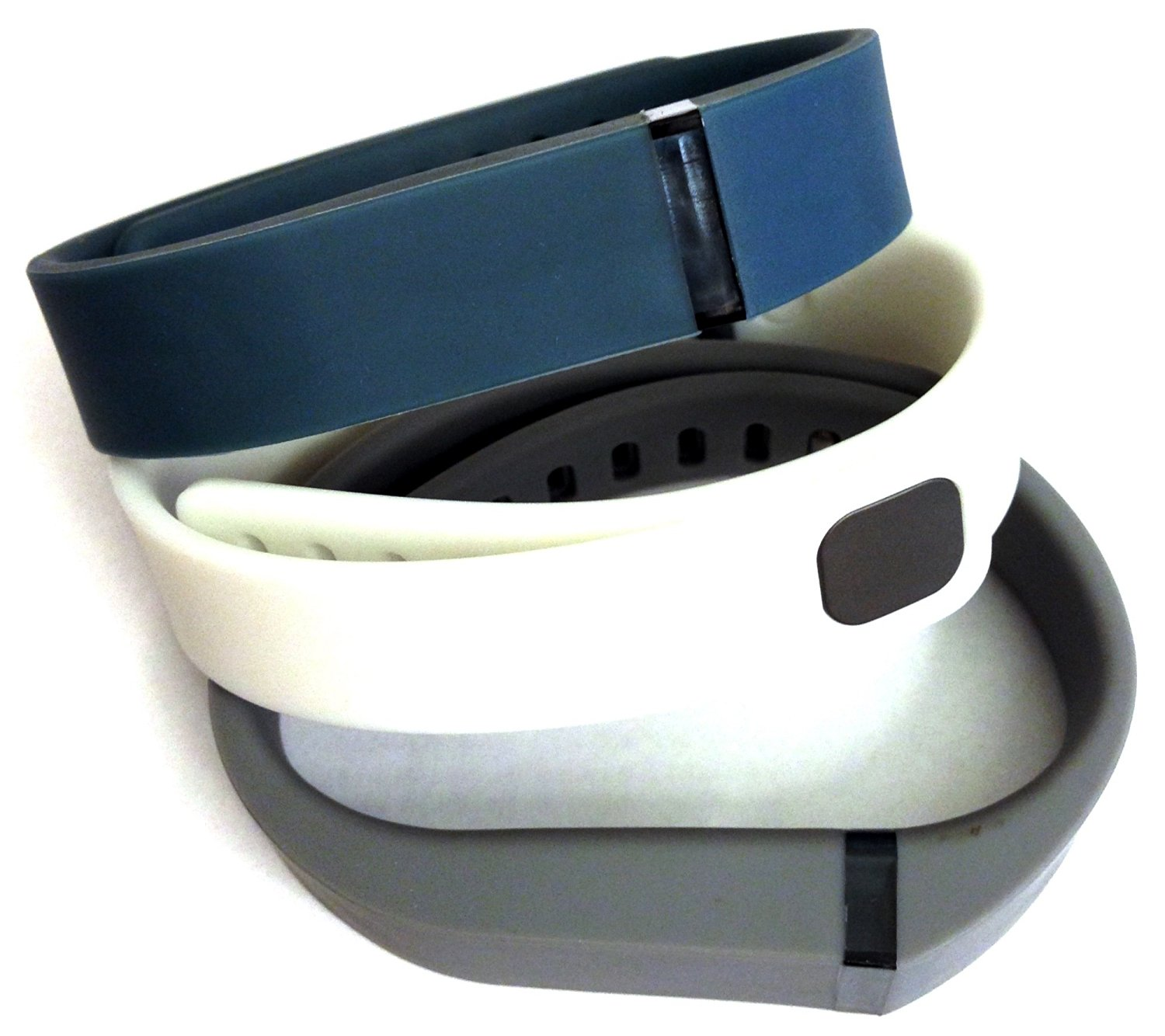Set 3 Colors Large L 1pc Grey 1pc Navy (Blue) 1pc White Replacement Bands With Clasp for Fitbit FLEX Only /No tracker/ Wireless Activity Bracelet Sport Wristband Fit Bit Flex Bracelet Sport Arm Band Armband
