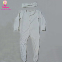 180 Grams fabric newborn baby lap shoulder romper long sleeve cotton baby grow footed rompers with front snaps