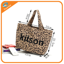 Leopard print cotton canvas fabric tote bag with canvas pouch bag