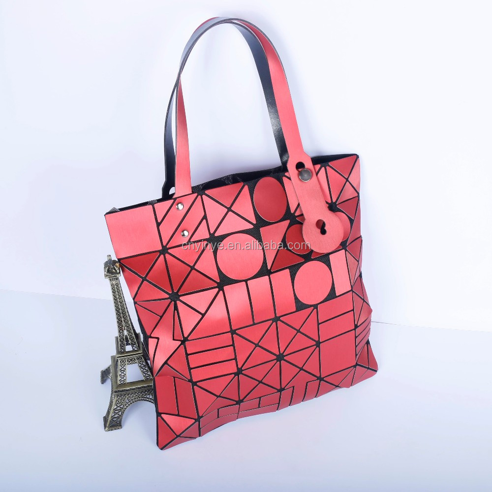 Fashion lady PU tote bag large capacity PVC women handbag geomety plaid sequins shoulder bag