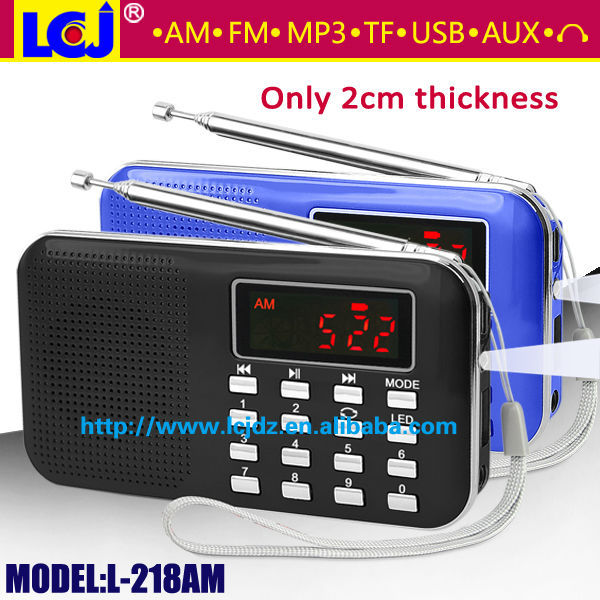 Pocket Digital FM//AM Radio MP3 Player Multimedia Speaker w// Flashlight Golden US