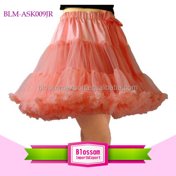 Wholesale Fluffy coral chiffon solid color adult pettiskirt for women