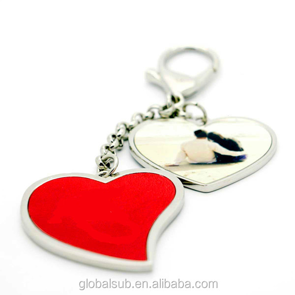 Sublimation Two Heart Hanging Key Bag Chain Charms With Cutting Board