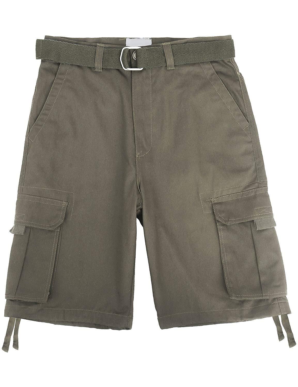 Ma Croix Mens Twill Cargo Shorts Belt Multi Pocket Summer Short Pants