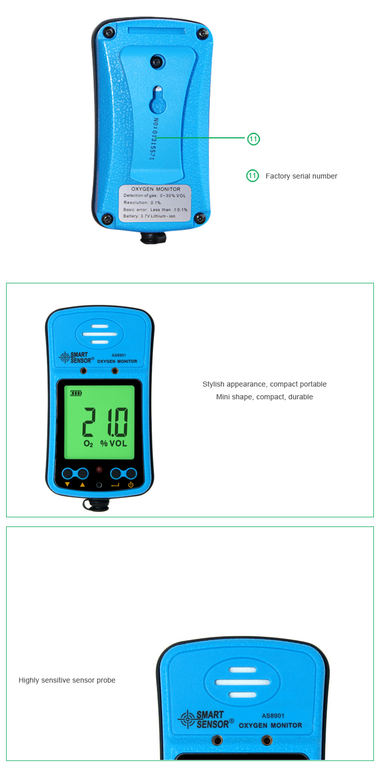 Smart Sensor Handheld Precision O2 Concentration Meter Oxygen Gas detector with Alarm AS8901