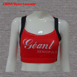 Free samples Red cheer sport bra wholesale cheerleading sports bra for girl