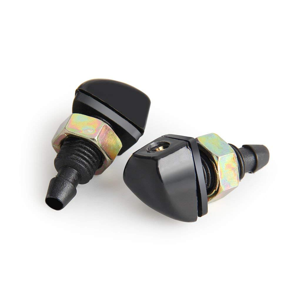2pcs front windshield washer nozzle spray jet plastic black