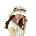 Sodial R Beige Summer Exquisite Leopard Ribbon Bowknot Decorated Openwork Sun Hat For Women