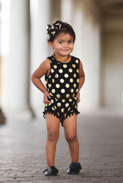 Black and Gold Dots Pom Pom Romper headband Jumpsuit baby girl clothes white and gold baby