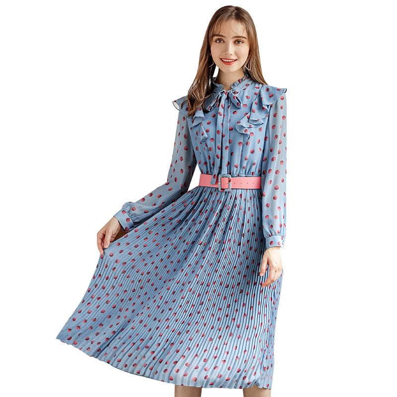 a3d122172 2018 invierno nueva ropa de moda de las mujeres Collar largo cinturón  impresión vestido azul de