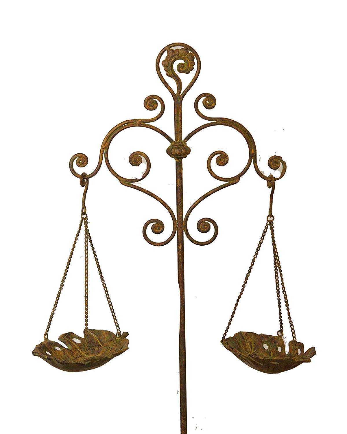 """Your Heart's Delight 42.5"""" x 12"""" x 12"""" Cast Iron Garden Stake with Double Hanging Birdfeeders"""