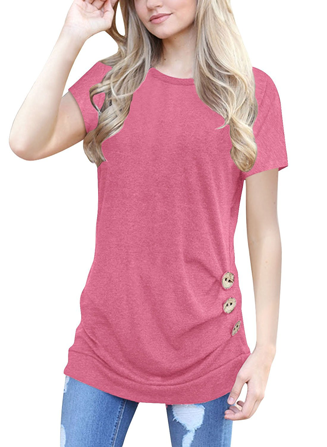 355127a77d Get Quotations · OURS Women s Casual Short Sleeve Tunics Solid Loose Fit T  Shirt Blouse Tops