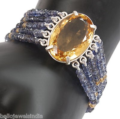 138. 85ct DESIGNER 5 STRAND IOLITE & CITRINE BRACELET-Wholesale Gemstone Jewellery Supplier