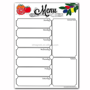 Fancy Magnetic Dry Erase Menu Weekly Meal Planner WhiteBoard For  Refrigerator-Includes Grocery List And Notes Section