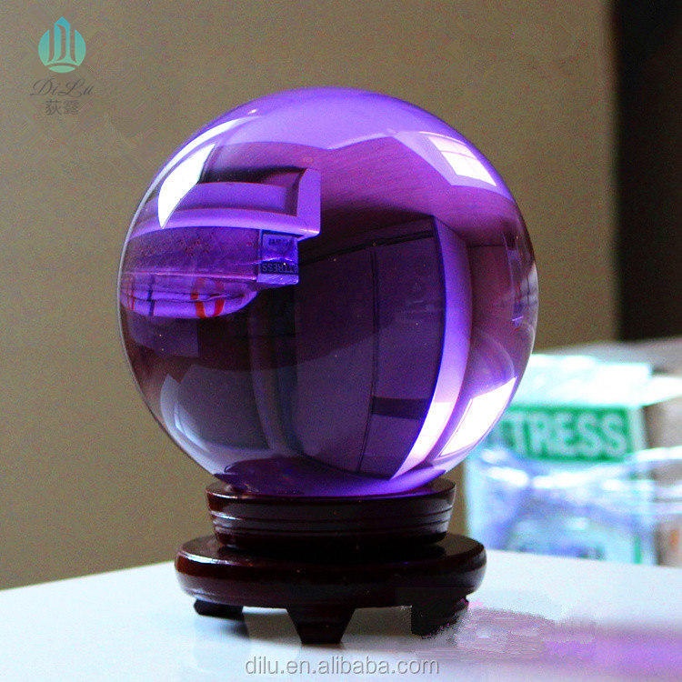 Diameter 200mm, advanced K9 material, purple crystal ball with wooden base