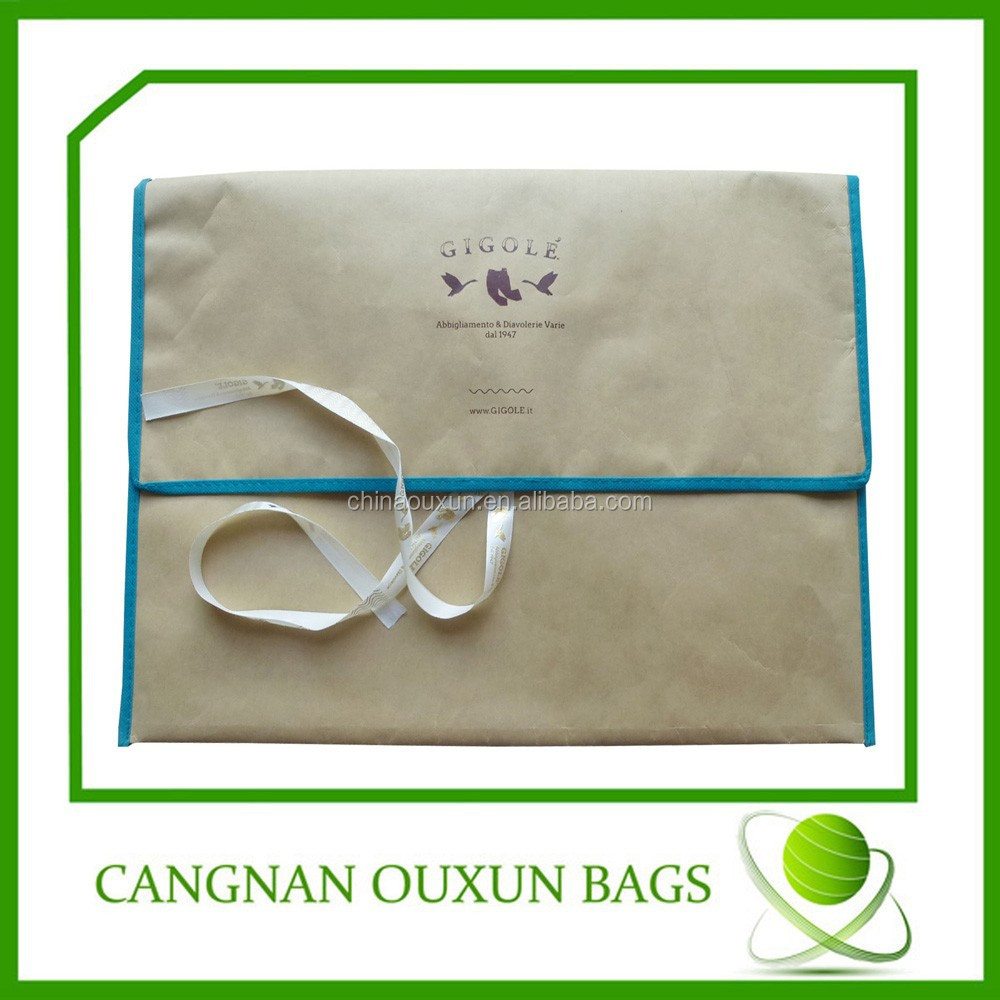 Craft paper coated nonwoven document bag