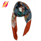 2019 Custom Made 100% Silk Satin Print 140*140 Cm Scarf