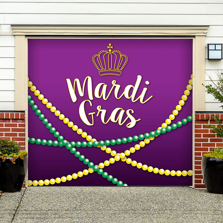 Victory Corps Outdoor Mardi Gras Decorations Garage Door Banner Cover Mural Décoration 7'x8' - Mardi Gras Beads - The Original Mardi Gras Supplies Holiday Garage Door Banner Decor