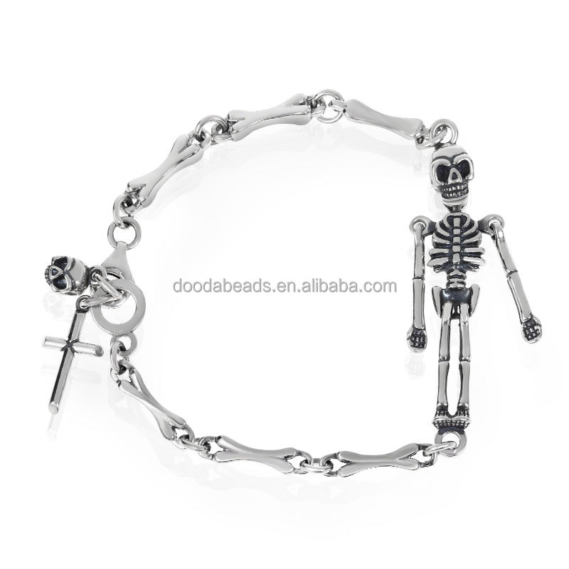 Terrible 925 Sterling Silver Men's Gothic Skeleton Skull Body Link Wrist Bracelet Charm with Cross Bead for Jewelry Making