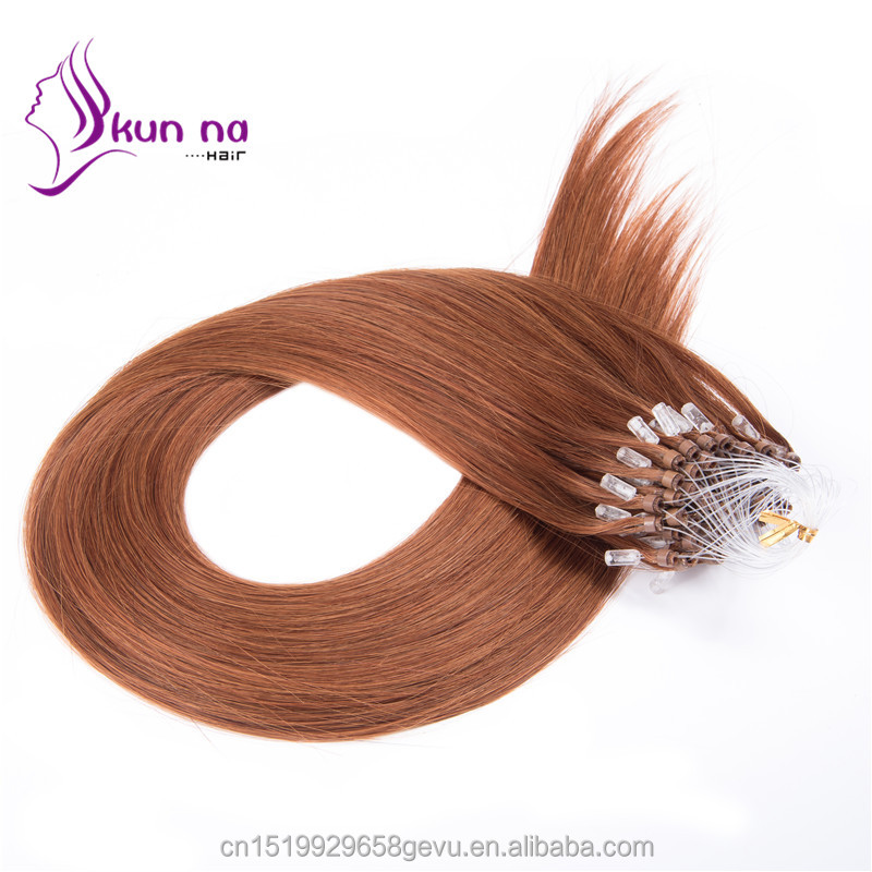 1g/strand Micro Ring Loop Hair Extensions #6 Brazilian Virgin Remy Human Hair