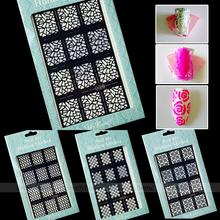 Nova chegada 2 maneira ferramenta Stamping Nail Art Template Stickers dicas Stamp Stencil guia função múltipla