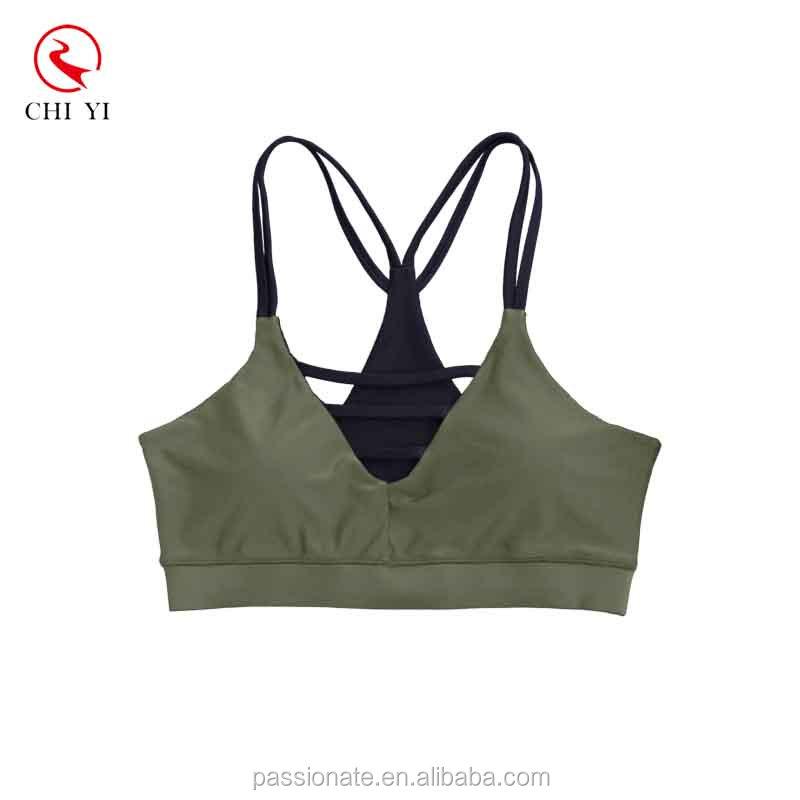 Factory custom made printed plus size activewear stylish front cutout fitness top double straps sports bra
