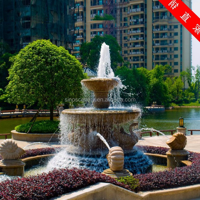 Stone Water Fountain For Garden Scenery, Natural Granite And Marble  Rotating Ball