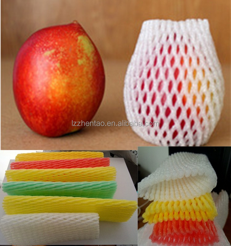 accept Custom Food grade fruit plastic EPE packaging net sleeve apple pe foam mesh