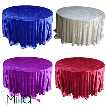 132 Round Crinkle Crush Velvet Wedding Tablecloths
