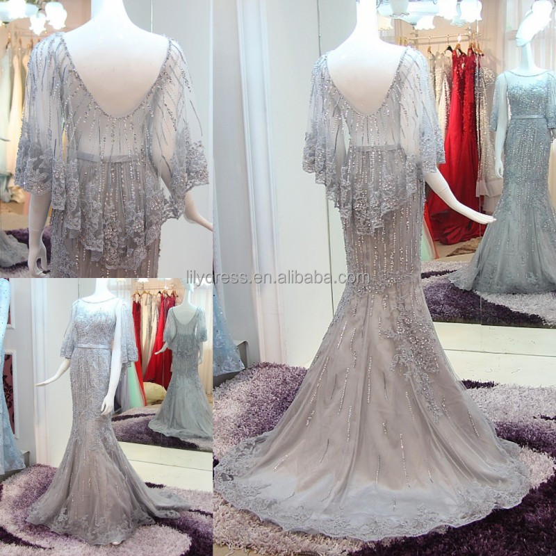 Luxury Beading Silver Mermaid Evening Dresses 2016 Vestido De Festa Longo Lace Applique Sexy See Through Formal Gowns ML152
