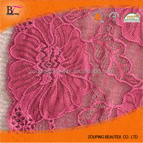 Hot sale elastic raschel lace trim in stock