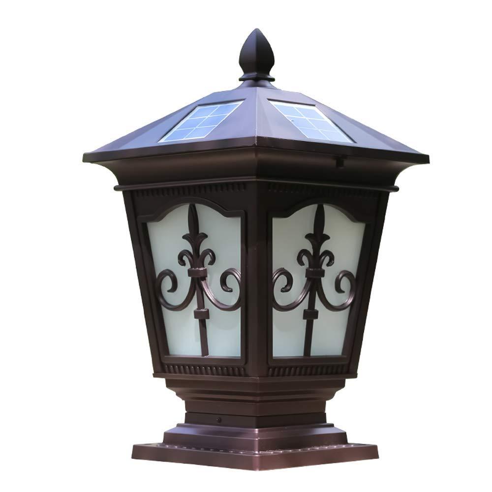 Hines European Waterproof Solar Energy Column Lamp Traditional Victoria Glass Lantern Aluminum Outdoor Table Lamp Fence Door Post Pillar Decoration Lighting Fixture (Color : Flower, Size : M)
