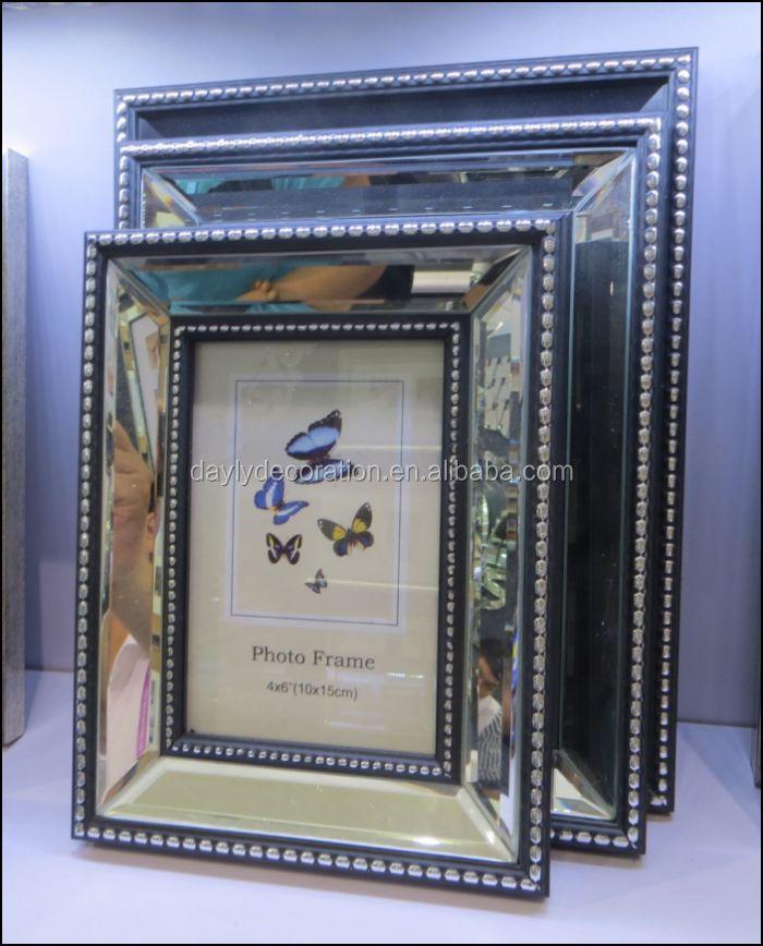 Dekorativen Silbernen Spiegel Abgeschrägt 4 Seiten Doppelt 5x7 ...