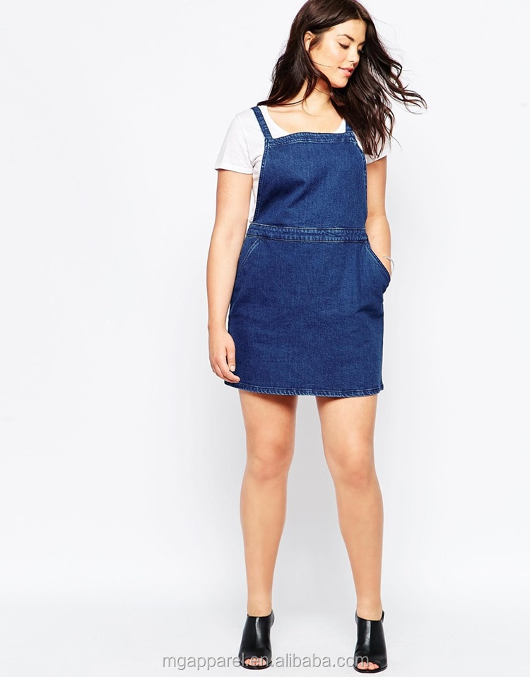 Wholesale Fat Women Dresses Plus Size Pinafore A-line Girl Denim ...