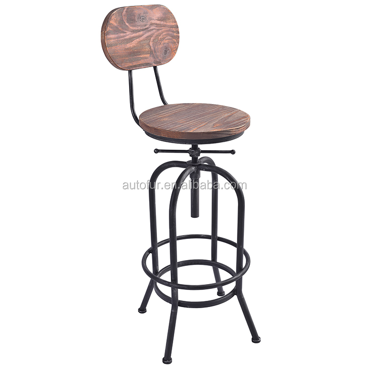 Hot Sale metal tube Pine Wooden swivel bar stool with back