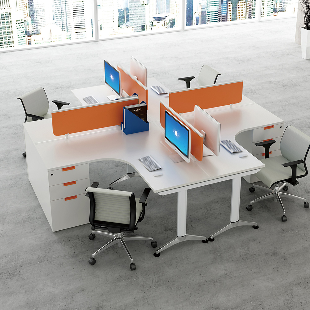 Office Table For 4 Person: Modern Office Furniture Desk 4 Person Office Workstation