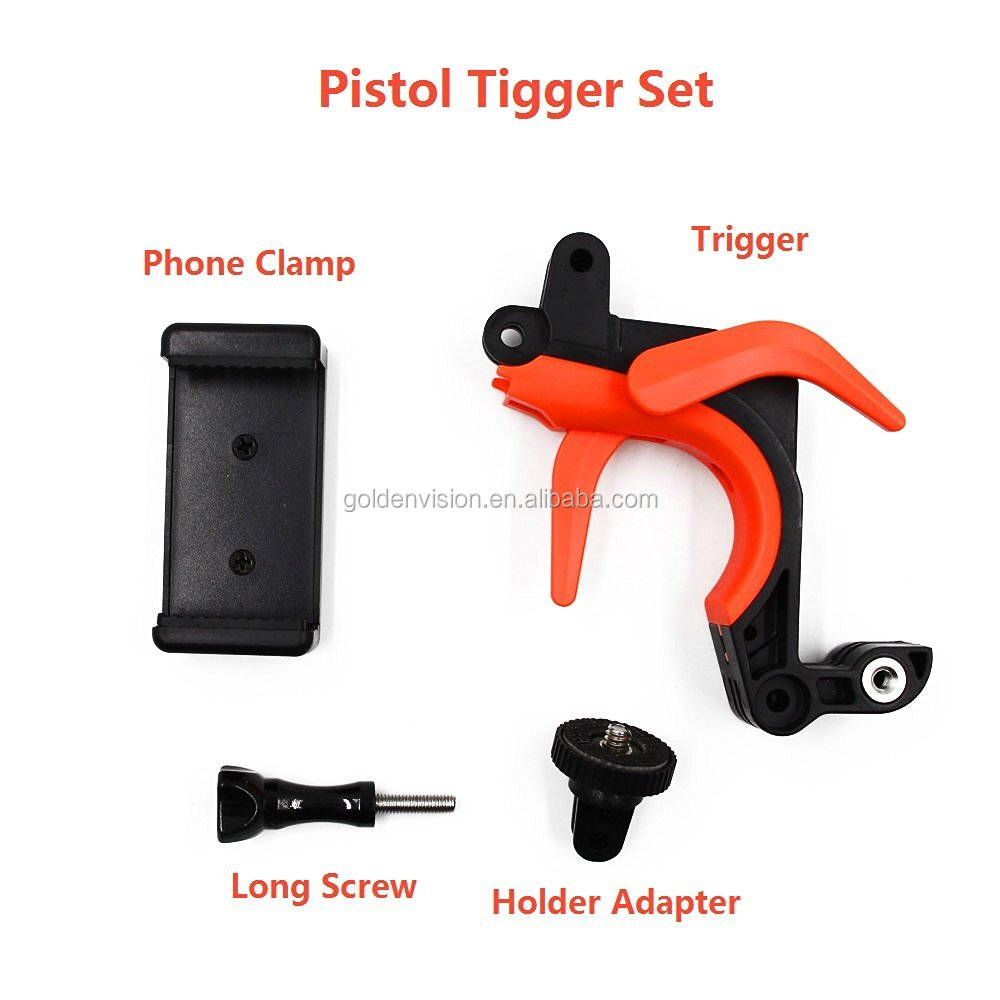 Universal Pistol Trigger/Shutter Kit For GoPro Hero3/3 / 4, Diving Floating Handle Shutter Dome Port For Xiaomi Yi Action Camera