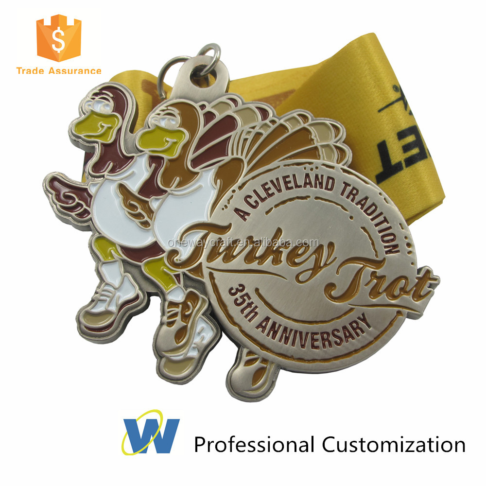 Custom Made Kids Triathlon Souvenir Medal With Neck Ribbons
