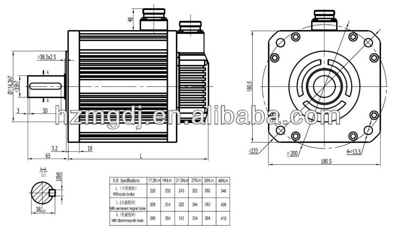 180mm high torque AC servo motor