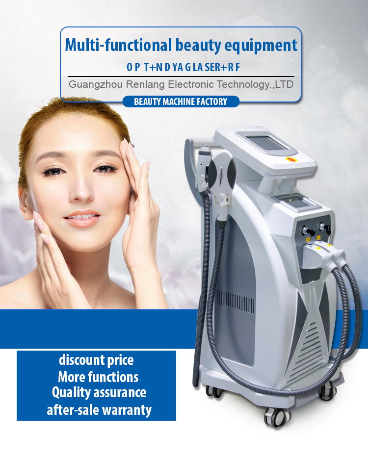 Opt Shr Fast Hair Removal IPL + RF + Elight + ND YAG Laser 4 in 1 Multifunctional Machine